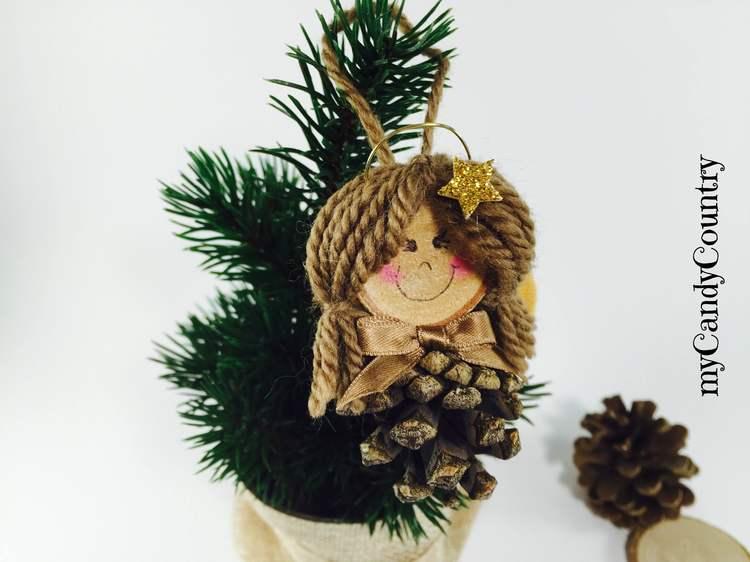 Addobbi di natale fai da te angioletto con pigna - Decorazioni natalizie legno fai da te ...