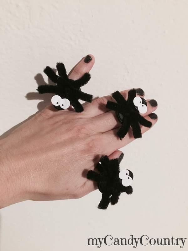 Anello ragno per la festa di Halloween bambini Bijoux fai da te Halloween fai da te plastica