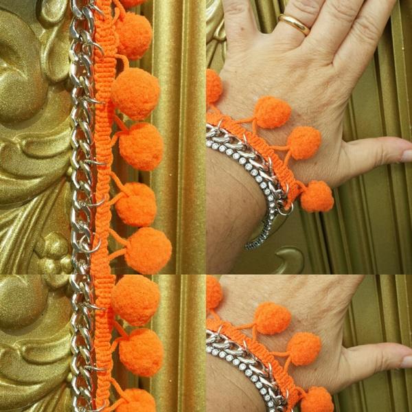 Braccialetti fai da te decorati con Pon Pon Bijoux fai da te creativapp Estate fai da te stoffa e lana