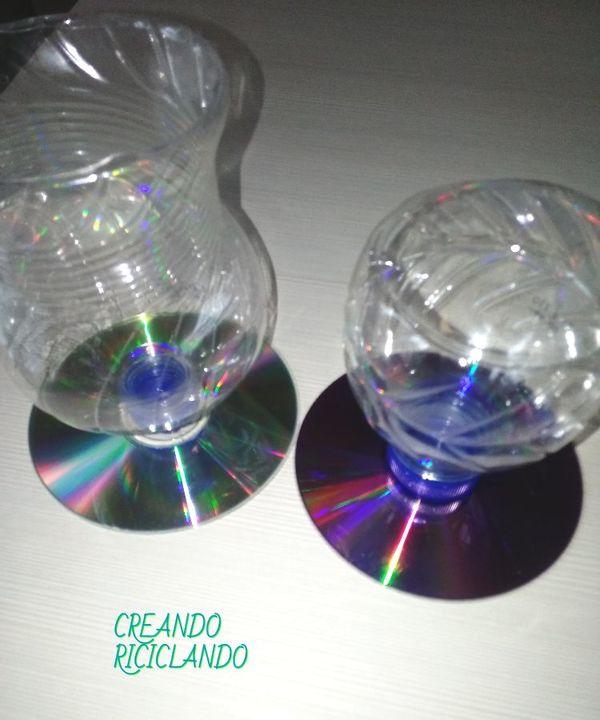 Come creare delle Coppe Chic riciclando bottiglie di plastica e CD carta e cartone creativapp home decor plastica Riciclo Creativo
