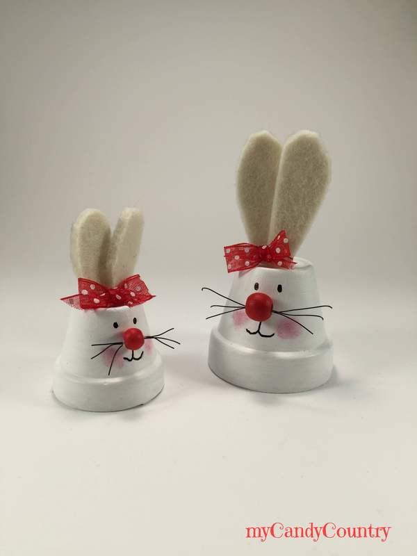 Coniglietti pasquali fai da te riciclando vasi in - Decorazioni pasquali fai da te ...