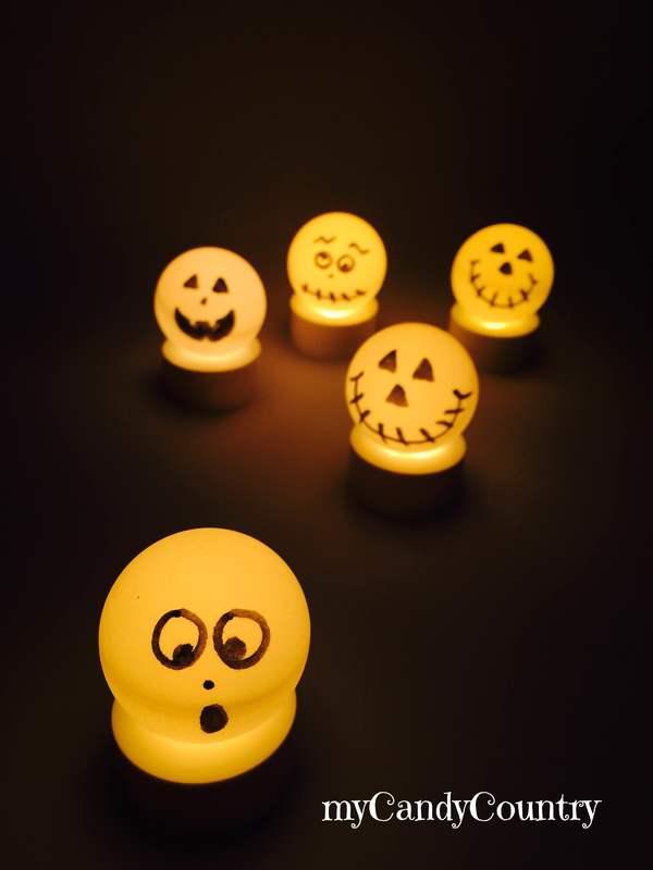 Fantasmi di Halloween fai da te con palline da ping-pong Halloween fai da te home decor plastica