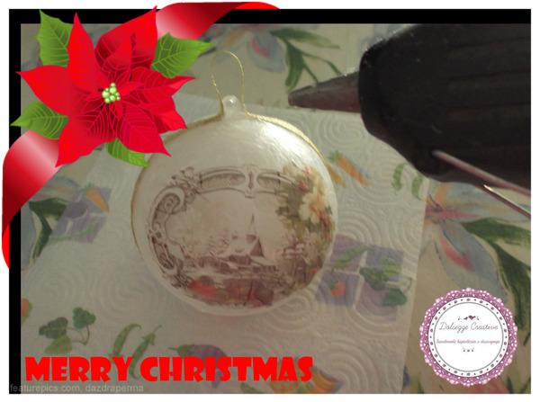 Palla di Natale fai da te, ricoperta di carta di riso carta e cartone creativapp home decor Natale fai da te plastica