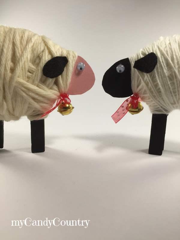 Pasqua Creativa: pecorelle fai-da-te con mollette del bucato carta e cartone legno e natura Pasqua fai da te Riciclo Creativo stoffa e lana
