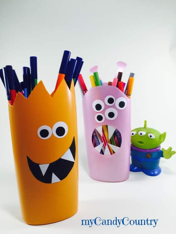 Portapenne fai da te riciclando flaconi di bagnoschiuma bambini plastica Riciclo Creativo