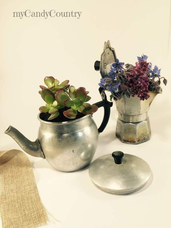 Fare vasi fioriti riciclando vecchi oggetti da cucina mycandycountry idee creative idee - Oggetti da cucina ...