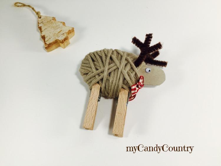 Renne di Natale fai da te con le mollette da bucato home decor legno e natura Natale fai da te