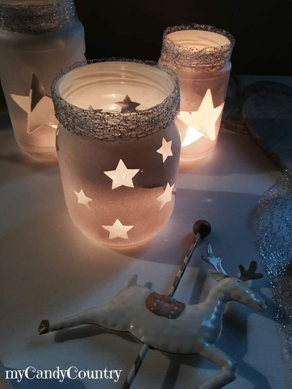 Riciclo creativo barattoli decorati per natale - Decorare lanterne ...