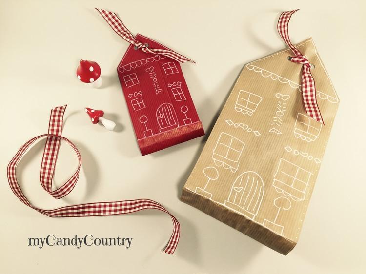 Buste regalo fai da te con i sacchetti del pane natale - Pacchetti natalizi fai da te ...