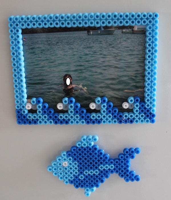 Creare cornice magnetica e pesce-calamita con perline da stirare creativapp home decor plastica