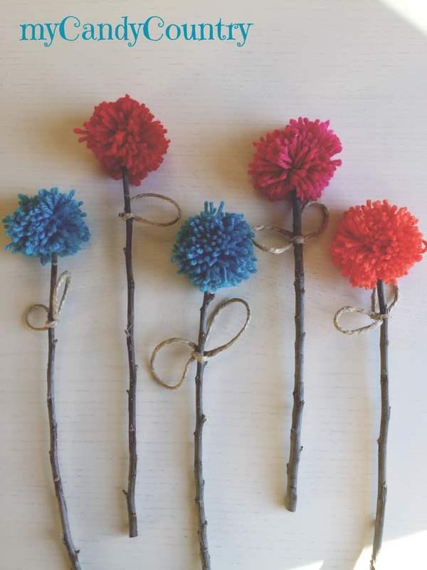 Creare fiori pom pom di lana home decor legno e natura stoffa e lana