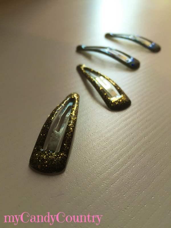 Mollette per capelli glitterate Bijoux fai da te metallo Riciclo Creativo