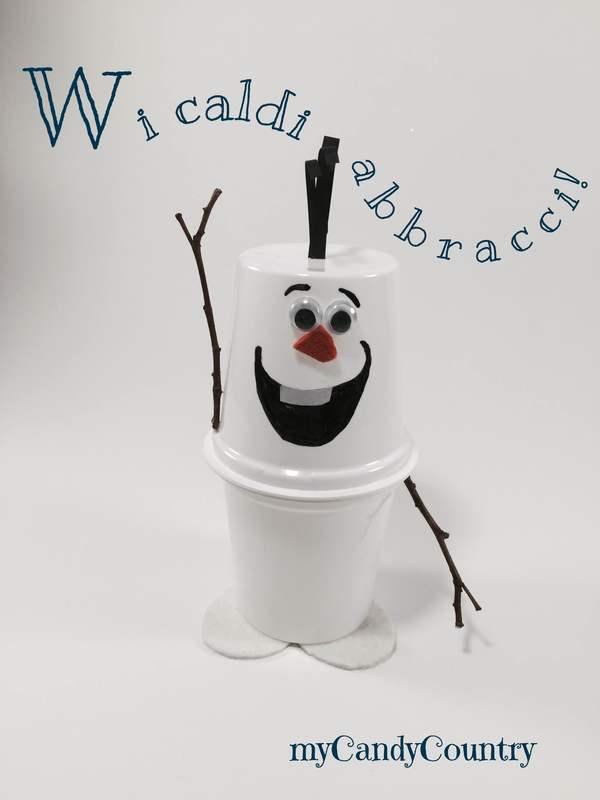 Pupazzo di neve fai da te riciclando vasetti dello yogurt for Lavoretti di natale fai da te semplici e veloci