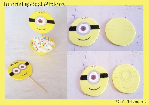 Tutorial cupcake topper minions bambini Compleanni fai da te creativapp gomma crepla