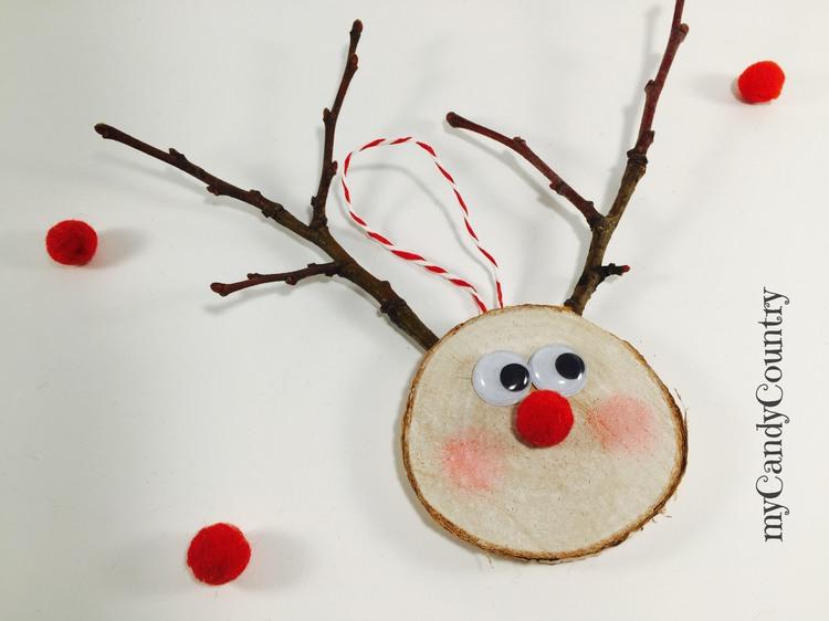 Renna di Natale fai da te con rondelle di legno home decor legno e natura Natale fai da te