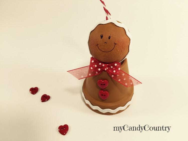 Gingerbread fai da te con vasi di terracotta legno e natura Natale fai da te