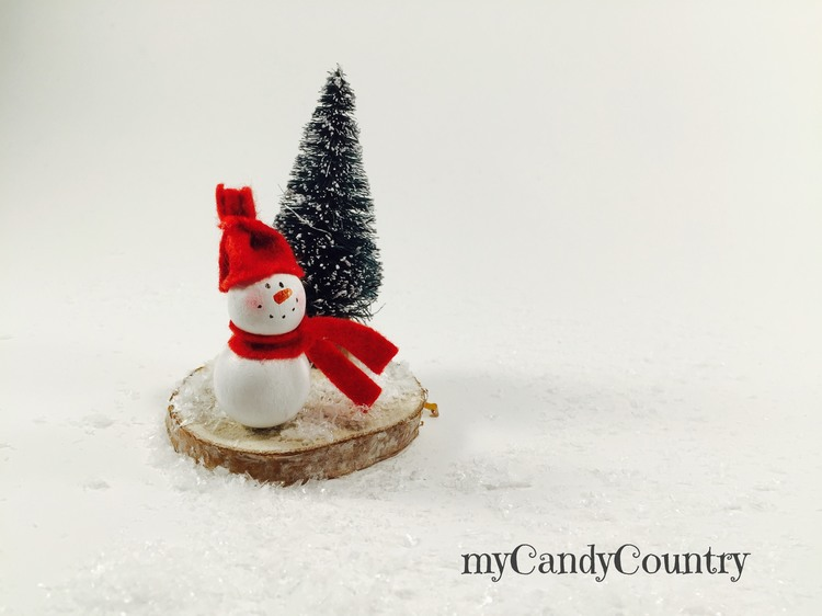Segnaposto natalizi con pupazzo di neve home decor legno e natura Natale fai da te