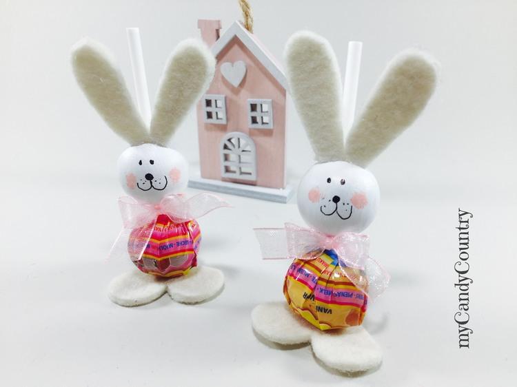 Coniglietti fai da te con lecca lecca feltro Pasqua fai da te Riciclo Creativo