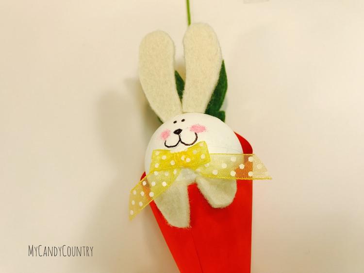 Coniglietto fai da te con cono di legno legno e natura Pasqua fai da te Riciclo Creativo